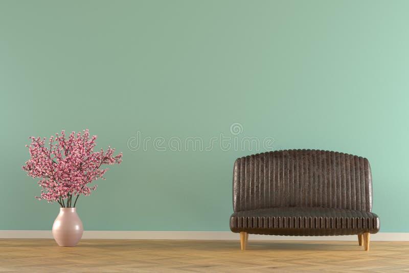 Interior com rendição do sofá imagem de stock royalty free