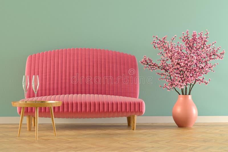 Interior com rendição do sofá fotos de stock royalty free