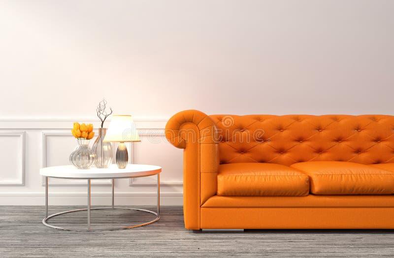Interior com sofá alaranjado ilustração 3D ilustração do vetor
