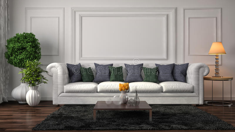 Interior com sofá branco ilustração 3D ilustração stock