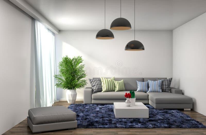 Interior com sofá cinzento ilustração 3D ilustração royalty free