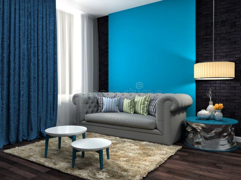 Interior com sofá cinzento ilustração 3D ilustração stock