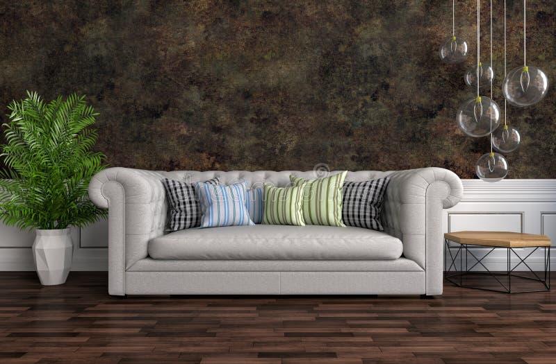 Interior com sofá cinzento ilustração 3D ilustração do vetor
