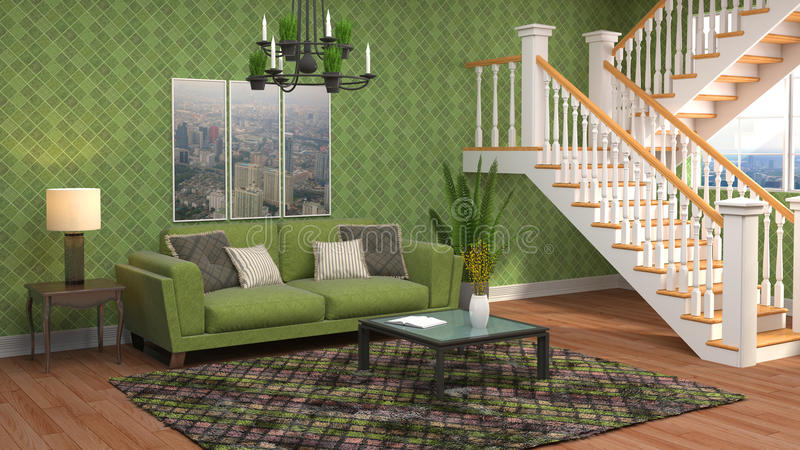 Interior com sofá ilustração 3D ilustração royalty free