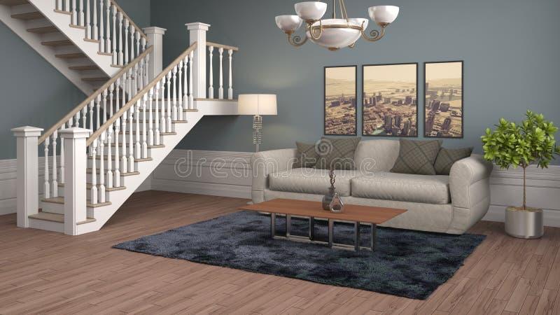 Interior com sofá ilustração 3D ilustração stock
