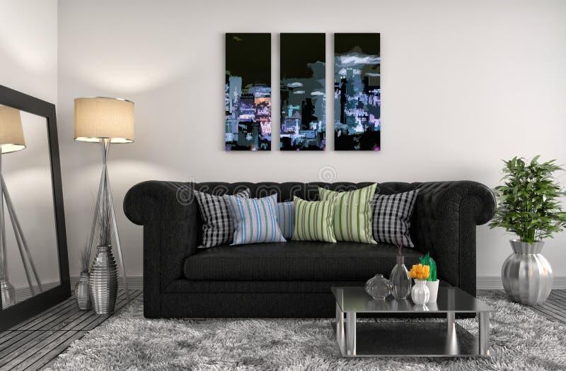 Interior com sofá preto ilustração 3D ilustração do vetor
