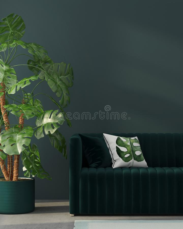 Interior com sofá verde e a planta tropical ilustração royalty free