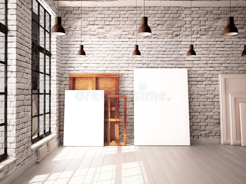 Interior com uma janela no sótão-estilo com cartazes e pinturas ilustração do vetor
