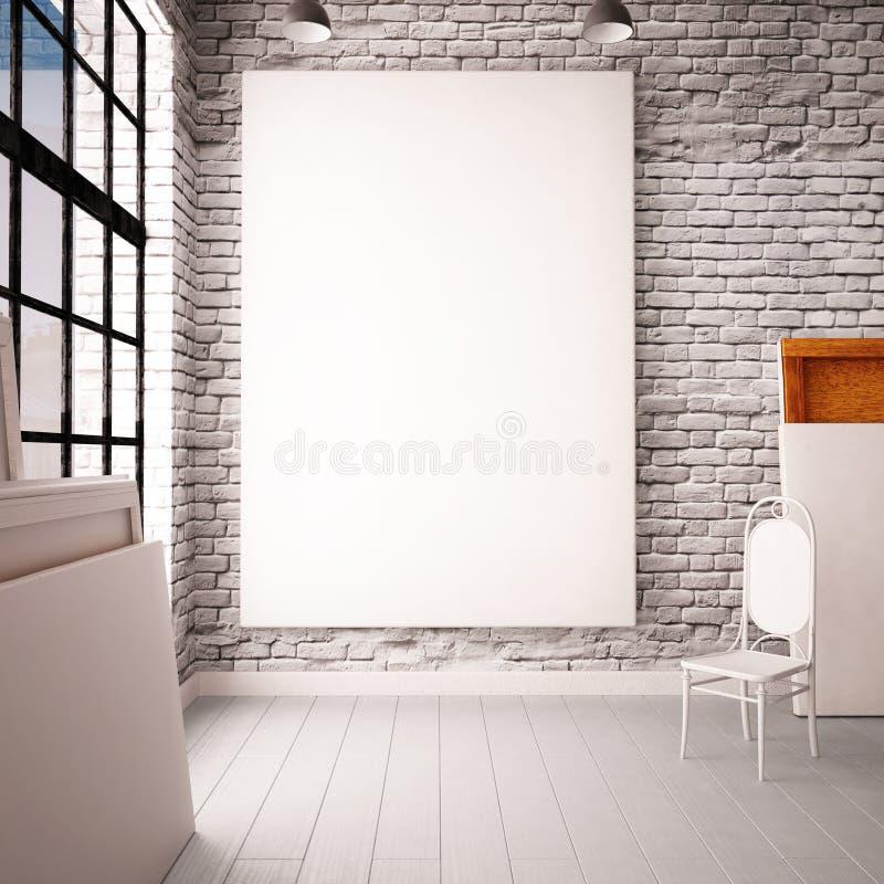 Interior com uma janela no sótão-estilo com cartazes e pinturas ilustração stock