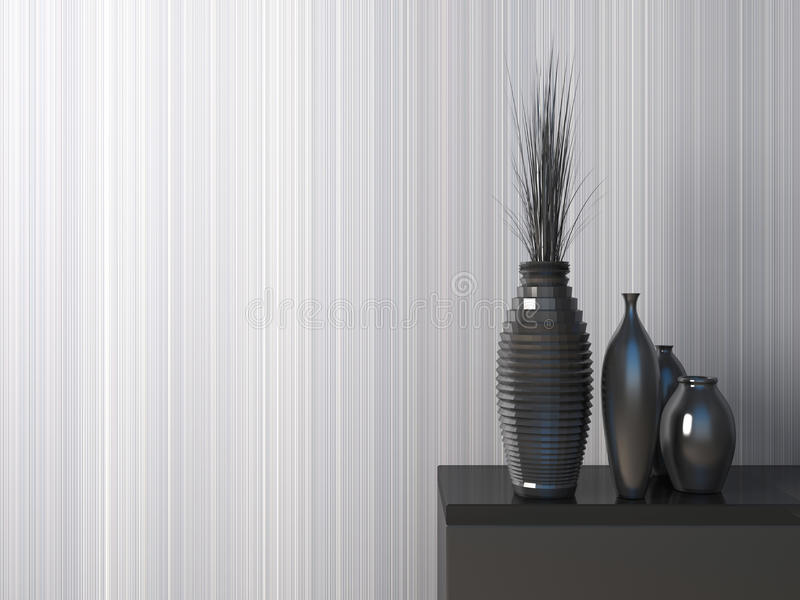 Interior com vaso preto ilustração 3D ilustração do vetor