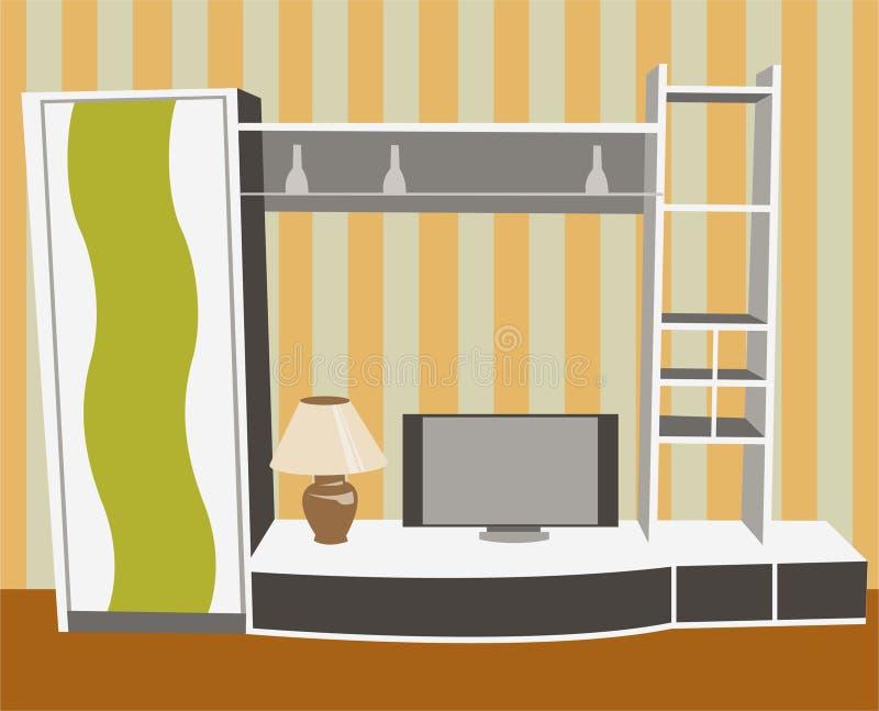 Interior com vetor da tevê ilustração stock