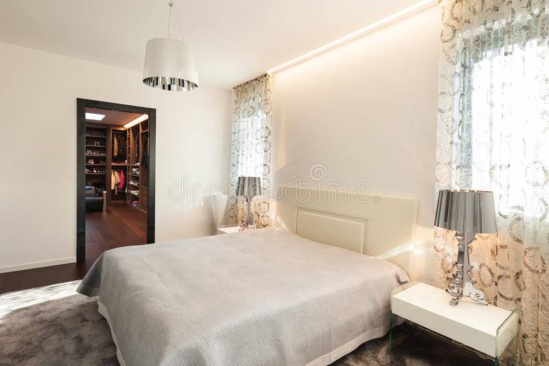 Interior, comfortable bedroom stock image