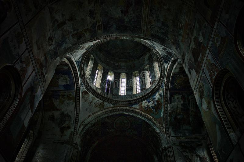 interior and complex interior paintings of one of the oldest church in the whole world stock photo