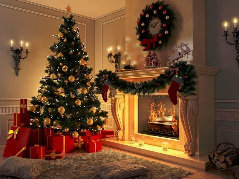 Interior con el árbol de navidad, los presentes y la chimenea postal imagen de archivo libre de regalías