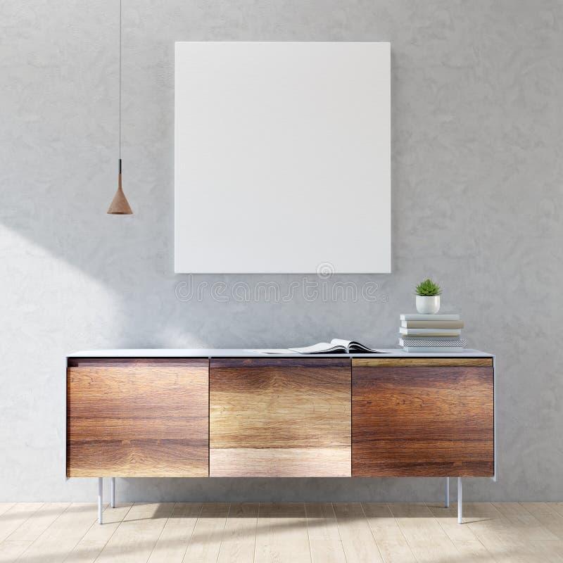 Interior con el cartel falso, la cómoda, la lámpara, libros y una planta 3d rinden los cilindros de image ilustración del vector