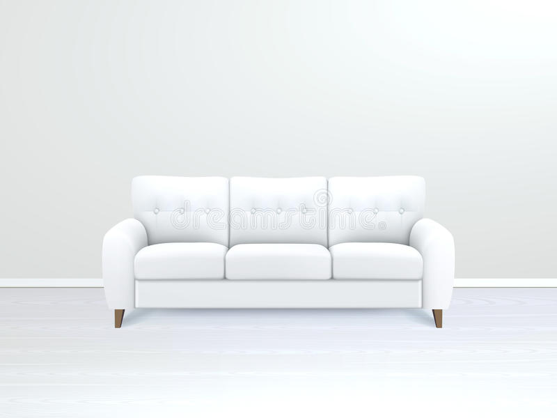Interior con el cuero blanco Sofa Illustration ilustración del vector