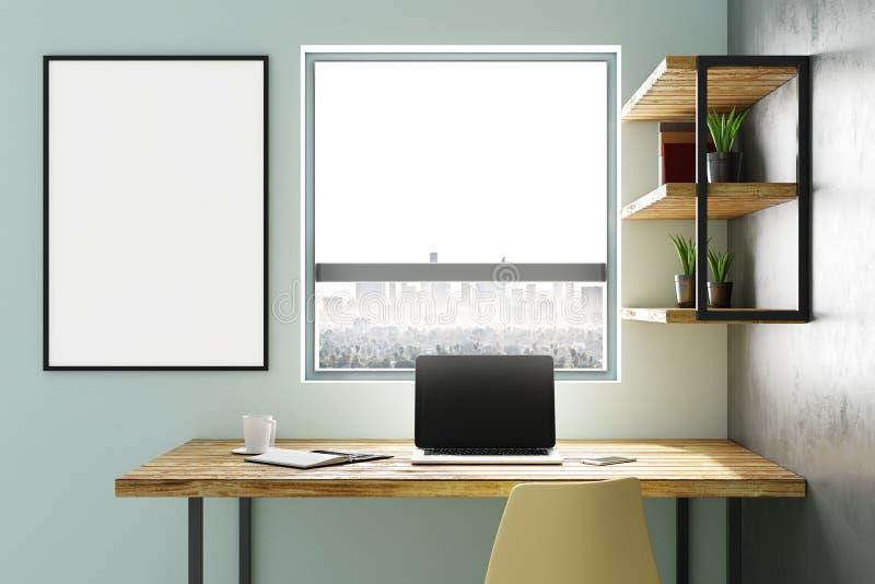 Interior con el lugar de trabajo y el cartel libre illustration