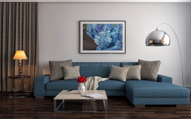 Interior con el sofá azul ilustración 3D libre illustration