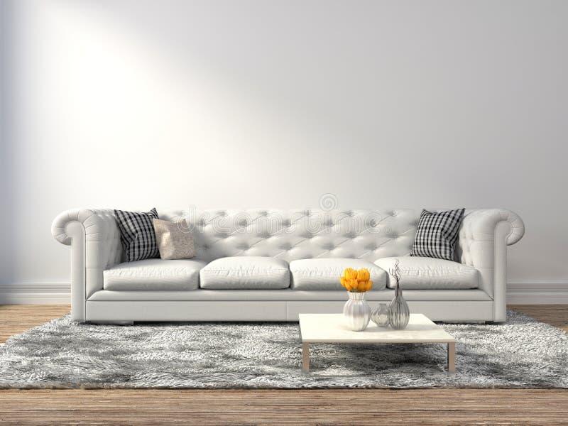 Interior con el sofá blanco ilustración 3D stock de ilustración