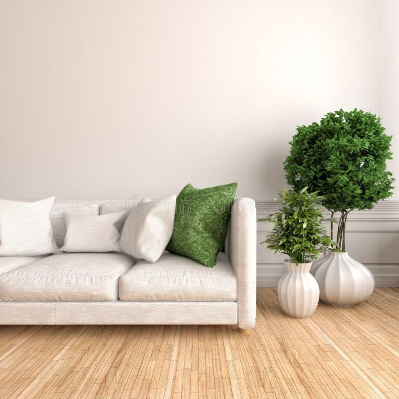 Interior con el sofá blanco ilustración 3D libre illustration