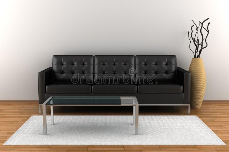 Interior con el sofá de cuero negro ilustración del vector