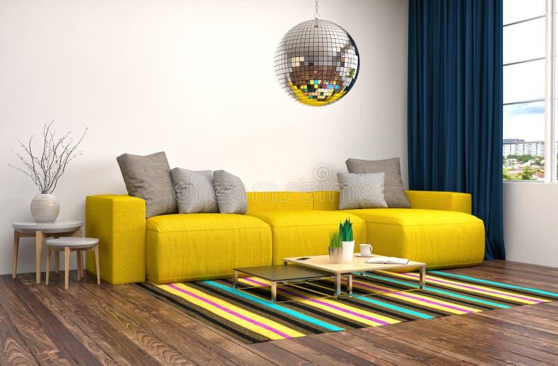 Interior con el sofá ilustración 3D stock de ilustración