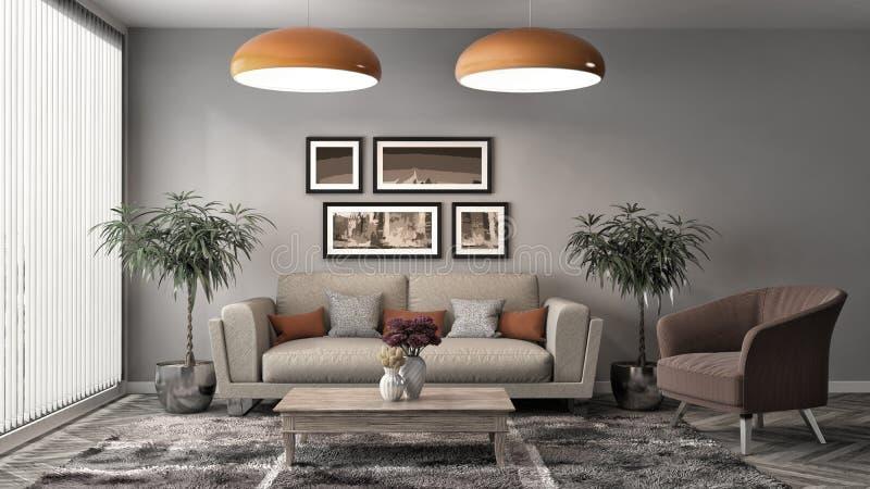 Interior con el sofá ilustración 3D libre illustration
