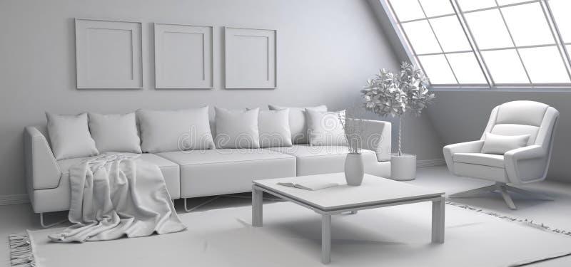 Interior con el sofá ilustración 3D ilustración del vector