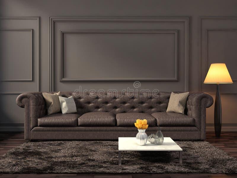 Interior con el sofá marrón ilustración 3D ilustración del vector