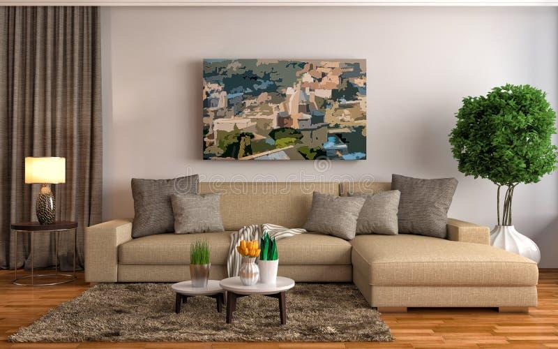 Interior con el sofá marrón ilustración 3D stock de ilustración