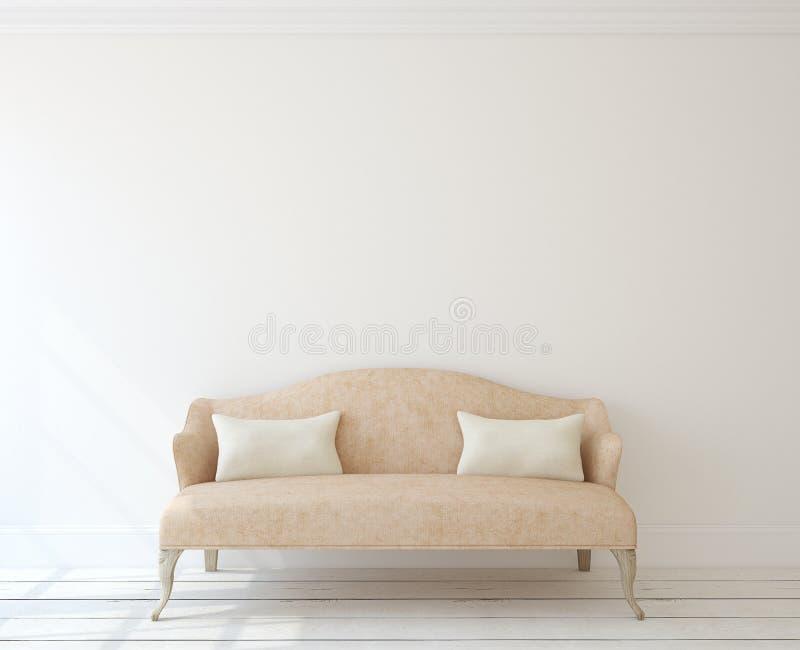 Interior con el sofá moderno stock de ilustración