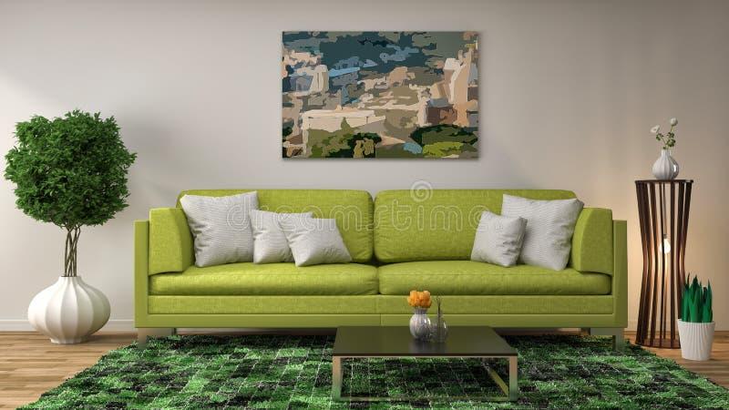 Interior con el sofá verde ilustración 3D libre illustration