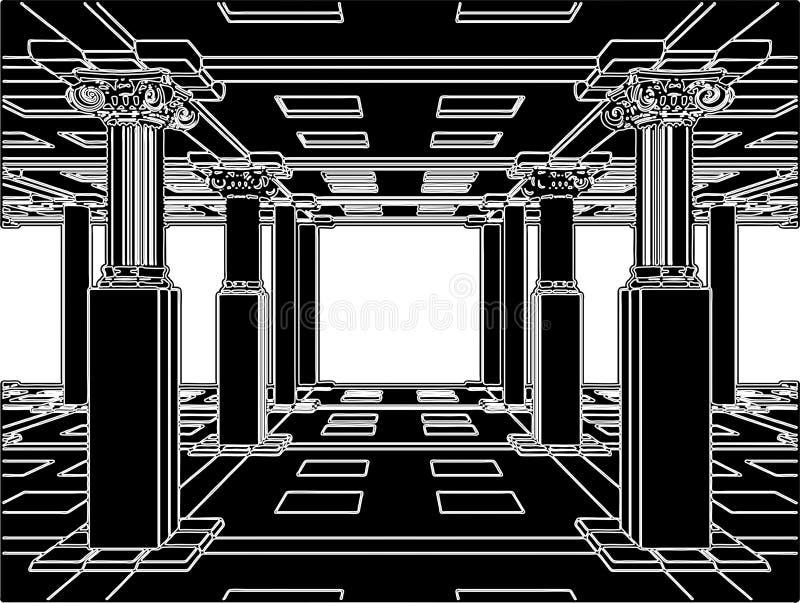 Interior con el vector antiguo 01 de las columnas stock de ilustración