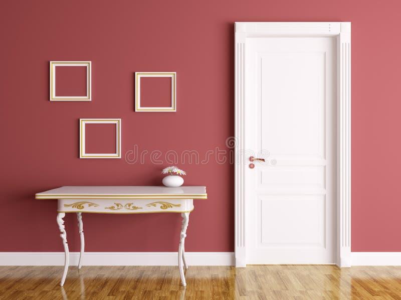 Interior con la puerta y la tabla stock de ilustración