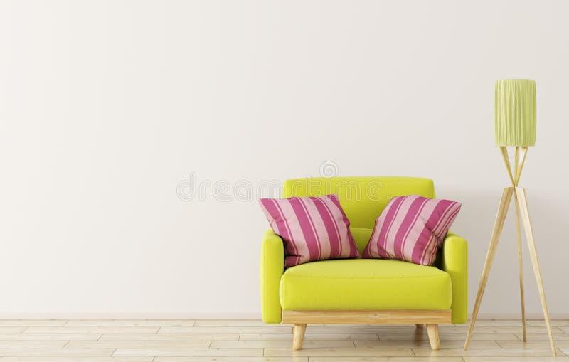 Interior con la representación de la butaca y de la lámpara de pie 3d libre illustration