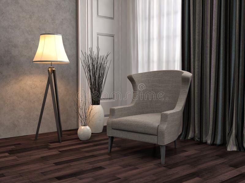 Interior con la silla ilustración 3D stock de ilustración