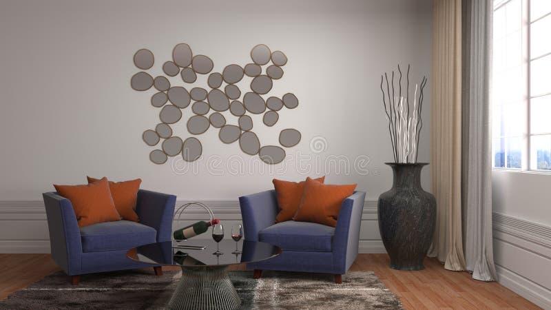 Interior con la silla ilustración 3D libre illustration
