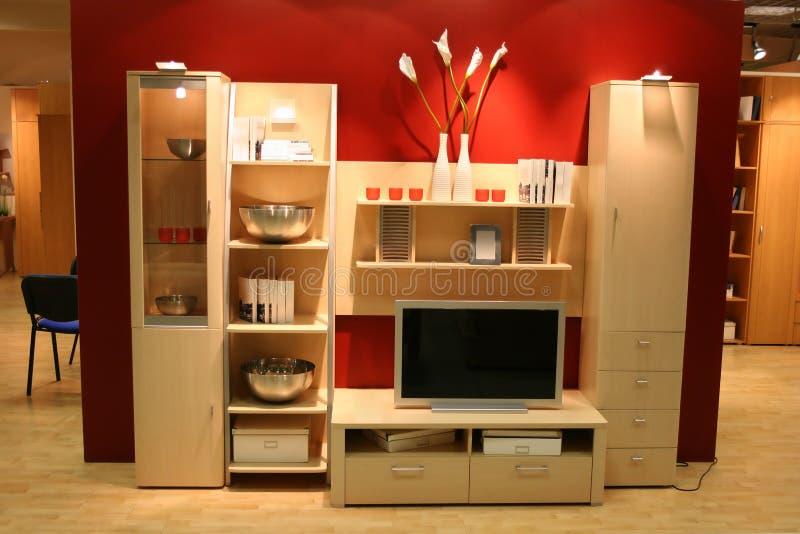 Interior con la TV imagen de archivo