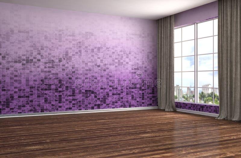 Interior con la ventana grande ilustración 3D ilustración del vector
