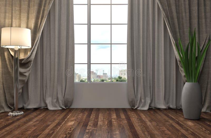 Interior con la ventana grande ilustración 3D libre illustration