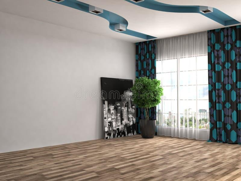 Interior con la ventana grande ilustración 3D stock de ilustración