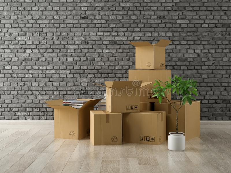 Interior con las cajas de cartón llenas para la representación de la relocalización 3D foto de archivo