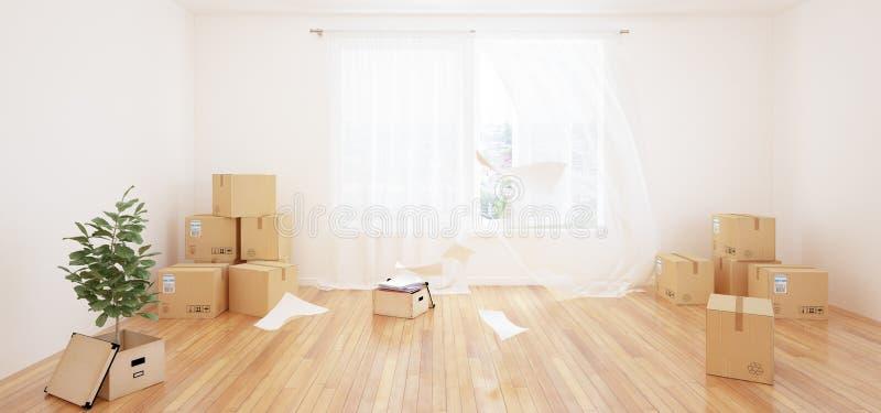 Interior con las cajas móviles en sitio blanco vacío stock de ilustración
