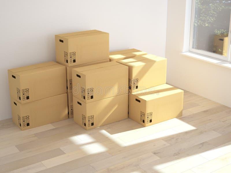 Interior con las cajas móviles en sitio blanco vacío 3d ilustración del vector
