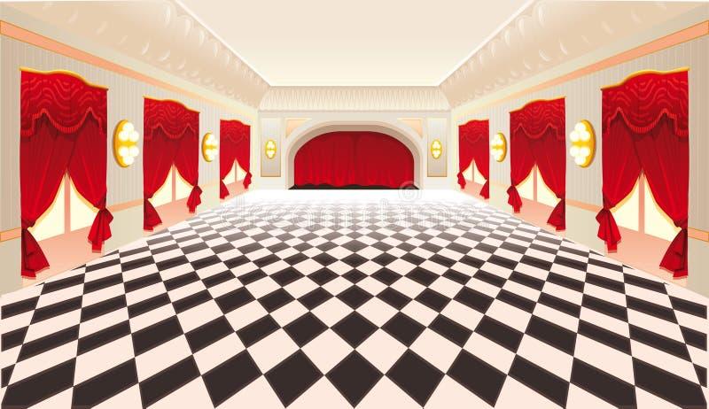 Interior con las cortinas rojas y el suelo embaldosado. stock de ilustración
