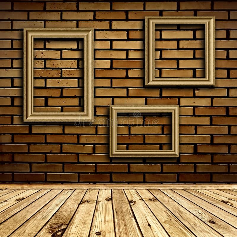 Interior con los marcos fotografía de archivo