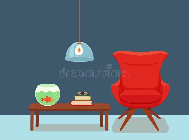 Interior con una planta en conserva de la butaca, lámpara de pie stock de ilustración