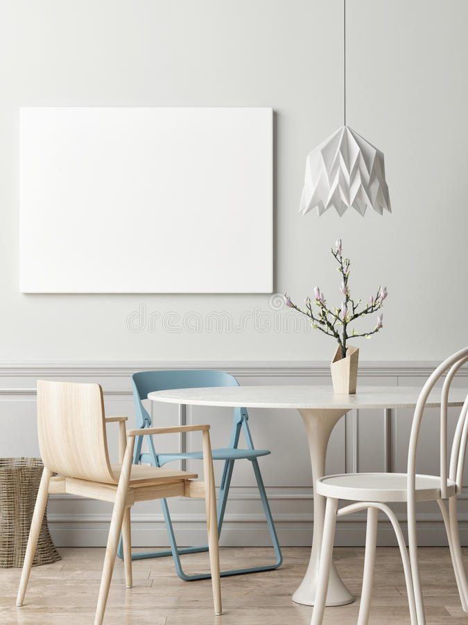 Interior concept of dinning room with white poster. 3d illustration vector illustration