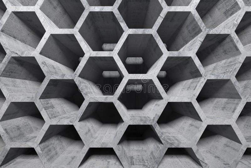 Interior concreto abstracto con la estructura de panal fotos de archivo