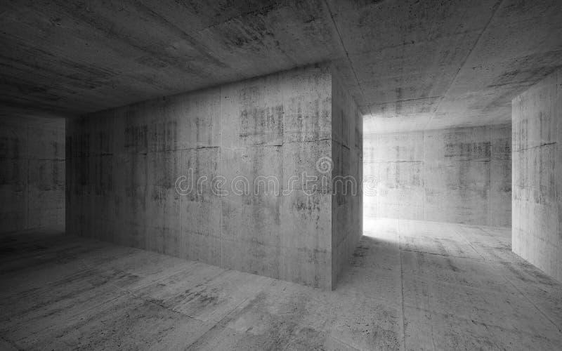 Interior concreto abstracto oscuro vacío ilustración 3D ilustración del vector